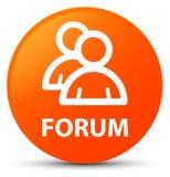 Forum (group icon) orange round button. Forum (group icon) isolated on orange round button abstract illustration Royalty Free Stock Photos