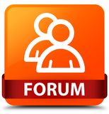 Forum (group icon) orange square button red ribbon in middle Stock Images