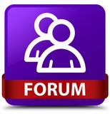 Forum (group icon) purple square button red ribbon in middle Stock Photos
