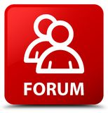 Forum (group icon) red square button Royalty Free Stock Images