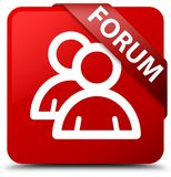 Forum (group icon) red square button red ribbon in corner. Forum (group icon) isolated on red square button with red ribbon in corner abstract illustration Royalty Free Stock Image