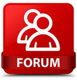 Forum (group icon) red square button red ribbon in middle Royalty Free Stock Photography