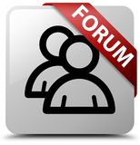 Forum (group icon) white square button red ribbon in corner. Forum (group icon) isolated on white square button with red ribbon in corner abstract illustration Stock Photos