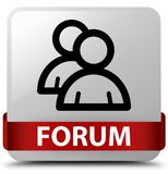 Forum (group icon) white square button red ribbon in middle Royalty Free Stock Images
