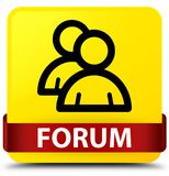 Forum (group icon) yellow square button red ribbon in middle Royalty Free Stock Photos