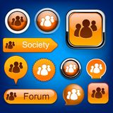 Forum high-detailed modern buttons. Stock Photos