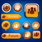 Forum high-detailed modern buttons. Stock Photos