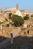 Forum i colosseum przy zmierzchem Romanum, Rzym, Włochy Zdjęcie Stock
