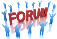 Forum icon with happy people around. 3D concept royalty free illustration
