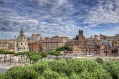 Forum imperiali nell'ampia vista di Roma Fotografia Stock
