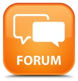 Forum special orange square button. Forum isolated on special orange square button abstract illustration Royalty Free Stock Photography