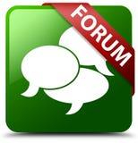 Forum kommentiert grüner quadratischer Knopf der Ikone Lizenzfreie Stockbilder