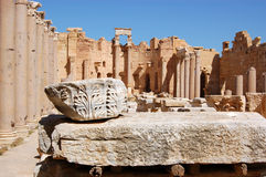 Forum, Leptis Magna, Libya. The magnificent Forum at the ruins of the ancient Roman city of Leptis Magna on the north coast of Libya, North Africa stock image