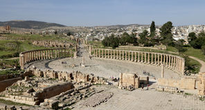 Forum (Ovaal Plein) in Gerasa (Jerash), Jordanië Royalty-vrije Stock Fotografie