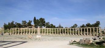 Forum (Ovaal Plein) in Gerasa (Jerash), Jordanië Royalty-vrije Stock Afbeeldingen