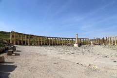 Forum (Ovaal Plein) in Gerasa (Jerash), Jordanië Royalty-vrije Stock Foto's