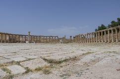 Forum (Oval Plaza) in the ancient Roman city of Gerasa, Jerash, Stock Photo