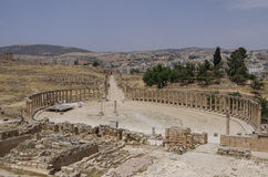 Forum (Oval Plaza) in the ancient Roman city of Gerasa, Jerash, Royalty Free Stock Photo