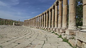 Forum (Oval Plaza)  in Gerasa (Jerash), Jordan Royalty Free Stock Images