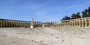 Forum (Oval Plaza)  in Gerasa (Jerash), Jordan. Royalty Free Stock Image
