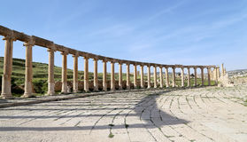 Forum (Oval Plaza)  in Gerasa (Jerash), Jordan Royalty Free Stock Images