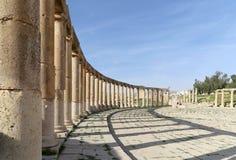 Forum (Oval Plaza)  in Gerasa (Jerash), Jordan Stock Photography