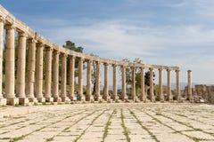 Forum (Oval Plaza)  in Gerasa (Jerash), Jordan. Stock Photos