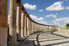 Forum (Oval Plaza)  in Gerasa (Jerash), Jordan Royalty Free Stock Photography