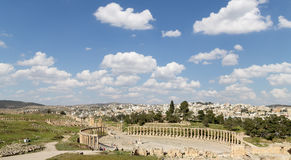 Forum (Oval Plaza)  in Gerasa (Jerash), Jordan Royalty Free Stock Photo