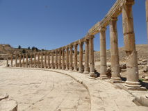 Forum (Oval Plaza) in Jerash, Jordan. The Oval Forum and Cardo Maximus in ancient Jerash, Jordan Royalty Free Stock Photos