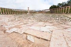 Forum ovale dans la ville antique Jerash en Jordanie Images stock