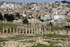 Forum (Owalny plac) w Gerasa (Jerash Jordania), Obrazy Stock