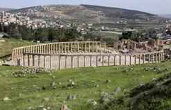 Forum (plaza ovale) dans Gerasa (Jerash), Jordanie Photographie stock