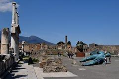 Forum Pompeii arkeologisk plats, nr Mount Vesuvius, Italien Royaltyfri Foto