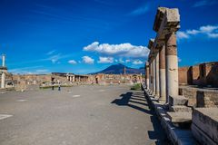 The Forum In Pompeii - Campania Region, Italy. The Forum In Pompeii - Province Of Naples, Campania Region, Italy royalty free stock photos