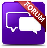 Forum purple square button red ribbon in corner. Forum isolated on purple square button with red ribbon in corner abstract illustration Stock Photos