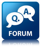 Forum (question answer bubble icon) blue square button Royalty Free Stock Photo