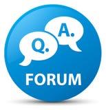 Forum (question answer bubble icon) cyan blue round button. Forum (question answer bubble icon) isolated on cyan blue round button abstract illustration Stock Photos