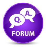 Forum (question answer bubble icon) elegant purple round button. Forum (question answer bubble icon) isolated on elegant purple round button abstract Stock Photography