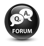 Forum (question answer bubble icon) glassy black round button Royalty Free Stock Photography