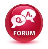 Forum (question answer bubble icon) glassy pink round button. Forum (question answer bubble icon) isolated on glassy pink round button abstract illustration Royalty Free Stock Image