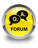 Forum (question answer bubble icon) glossy yellow round button Stock Photography