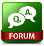 Forum (question answer bubble icon) green square button red ribb Royalty Free Stock Photos