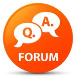 Forum (question answer bubble icon) orange round button Stock Images
