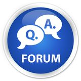 Forum (question answer bubble icon) premium blue round button. Forum (question answer bubble icon) isolated on premium blue round button abstract illustration Royalty Free Stock Photography