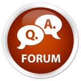 Forum (question answer bubble icon) premium brown round button. Forum (question answer bubble icon) isolated on premium brown round button abstract illustration Stock Photography