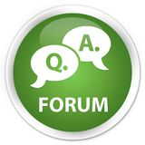 Forum (question answer bubble icon) premium soft green round but Royalty Free Stock Photography