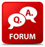 Forum (question answer bubble icon) red square button Stock Image