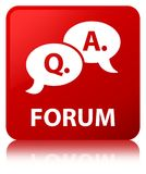 Forum (question answer bubble icon) red square button Royalty Free Stock Photography