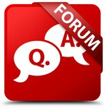 Forum (question answer bubble icon) red square button red ribbon Stock Photos